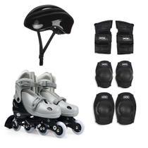 Patins Roller Regulável Intantil Preto Cinza com Acessórios de Proteção Segurança Tamanho 34 ao 37 Mor -