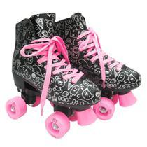 Patins Roller Rosa 4 Rodas Desenho Meninas Cadarço New - Dm Toys