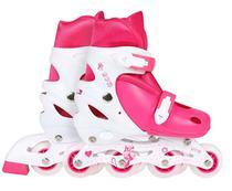 Patins Roller Row Infantil Rosa Regulável 34-37 Mor 12x S/ju -