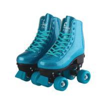 Patins Roller Skate Glitter Ajustável Azul 35 ao 38 Fênix - Fenix