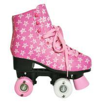 Patins Roller Stars Com Estrela Rosa Numeração 37 - Dm Toys -