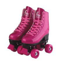 Patins Rosa Roller Skate Glitter Ajustável 39 a 42 - Fenix -