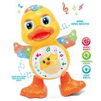 Pato Dançante Brinquedo Musical Anda Dança Mexe Com Luz e Som Duck Dancing Patinho - toys