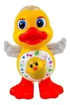 Pato Dançante Brinquedo Musical Anda Dança Mexe Com Luz e Som Duck Dancing Patinho - Yijun