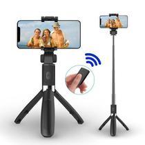 Pau De Selfie com Tripé Com Controle Bluetooth Sem Fio IOS e Android -