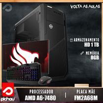 PC Estudo Pichau, AMD A6-7480, 8GB DDR3, HD 1TB, 500W + Monitor -