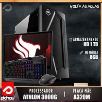 PC Estudo Pichau, AMD Athlon 3000G, 8GB DDR4, HD 1TB, 500W + Monitor -