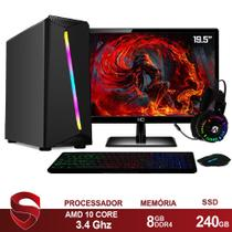 "PC Gamer Completo AMD 10-Core CPU 3.4Ghz 8GB DDR4 (Placa de vídeo Radeon R7 Series 2GB) SSD 240GB Kit Gamer Skill Monitor HDMI LED 19.5"" Casual - Skill Gaming"