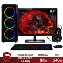 "PC Gamer Completo AMD 10-Core CPU 3.4Ghz 8GB DDR4 (Placa de vídeo Radeon R7 Series 2GB) SSD 240GB Kit Gamer Skill Monitor HDMI LED 19.5"" - Skill Gaming"