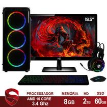 "PC Gamer Completo AMD 10-Core CPU 3.4Ghz 8GB DDR4 (Placa de vídeo Radeon R7 Series 2GB) SSD e HD 2TB Kit Gamer Skill Monitor HDMI LED 19.5"" Casual - Skill Gaming"