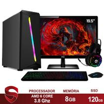 "PC Gamer Completo AMD 6-Core CPU 3.8Ghz 8GB (Placa de vídeo Radeon R5 2GB) SSD 120GB Kit Gamer Skill Monitor HDMI LED 19.5"" Casual - Skill Gaming"