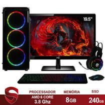 "PC Gamer Completo AMD 6-Core CPU 3.8Ghz 8GB (Placa de vídeo Radeon R5 2GB) SSD 240GB Kit Gamer Skill Monitor HDMI LED 19.5"" - Skill Gaming"