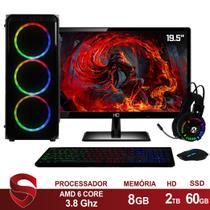 "PC Gamer Completo AMD 6-Core CPU 3.8Ghz 8GB (Placa de vídeo Radeon R5 2GB) SSD e HD 2TB Kit Gamer Skill Monitor HDMI LED 19.5"" Casual - Skill Gaming"