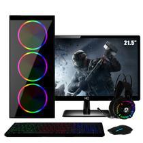 """PC Gamer Completo Intel Core i5 RAM 8GB (Geforce GTX 1050 2GB) SSD 120GB HD 1TB 500W Monitor Full HD 21.5"""" FoxPC Power -"""
