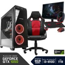 Pc gamer completo neologic nli80947 intel i3-8100 8gb (geforce gtx 1050 2gb)1tb + cadeira gamer red