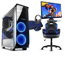 Pc gamer completo neologic nli80966 intel g5400 8gb (geforce gtx 1050 2gb) 1tb + cadeira gamer blue -