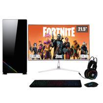 PC Gamer Completo XP Intel Core i7 8GB (Placa de vídeo Geforce GT 1030 2GB) SSD 120GB HD 2TB 500W 3green Monitor 21,5 Prata 75Hz -