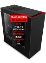 PC Gamer Fácil Amd Ryzen 5 3600x 3.8GHz 16GB DDR4 AMD Radeon RX550 4GB HD 1TB Fonte 500W Gabinete NZXT S340 - Fácil Computadores