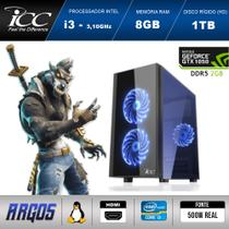 PC Gamer ICC AG2382S Intel Core i3 3,2 Ghz 8GB 1TB GeForce GTX 1050 2GB DDR5 128Bits HDMI FULL HD
