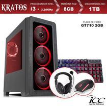 PC Gamer ICC KT2382KW Intel Core I3 3,20 Ghz 8GB 1TB GT710 2GB Kit Multimídia Windows 10 -