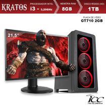 PC Gamer ICC KT2382SM21 Intel Core I3 3,20 Ghz 8GB 1TB GT710 2GB HDMI FULL HD Monitor LED 21,5 -