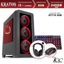 PC Gamer ICC KT2387KW Intel Core I3 3,20 Ghz 8GB 240GB SSD GT710 2GB Kit Multimídia Windows 10 -