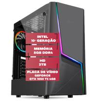 PC Gamer, Intel 10ª Geração, Placa de vídeo Geforce GTX 1050 Ti 4GB, 8GB DDR4 2666MHZ, HD 3TB, 500W, Skill Comet -