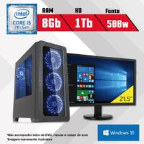 PC Gamer + Monitor 21,5 Intel Core i5 7ª Geração 8GB HD 1TB Windows 10 SL CertoX BRAVE 5003 - Certo pc