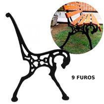 Pe de Banco de Jardim 9 Furos Modelo Cavalo em Ferro Pintado Preto  Mega Peso -