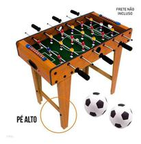 Pebolim Totó Futebol com Pé de Mesa 18jogador 69x37x60cm Gol - Brilho