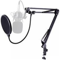 Pedestal Suporte Articulado Microfone Braço Mesa+ Pop Filter Lorben -