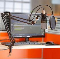 Pedestal Suporte Braço Articulado de Mesa Para Microfone de Rádio Estudio Youtuber Podcast Produtores Vídeos e Lives - S.A Music