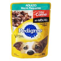 Pedigree Sachê Carne ao Molho para Cães Adultos de Raças Pequenas 100g -