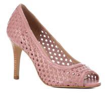 Peep Toe Couro Shoestock Salto Fino Tressê -
