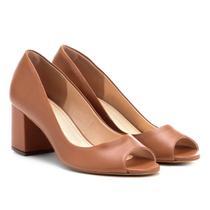 Peep Toe Couro Shoestock Salto Grosso -