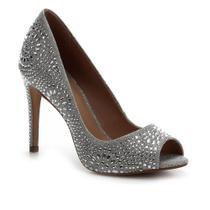 Peep Toe Shoestock Bride Lurex Cristais -