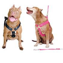 Peitoral Cachorro com Guia e Adaptador serve Pit Bull Labrador - Dedcases