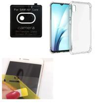 Película De Nano Gel Samsung Galaxy A01 CORE + Película Da Lente + Capa Reforçada - Dv Acessorios