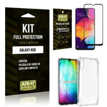 Película de Vidro 3D Samsung A50 + Capinha Anti Impacto - Armyshield -