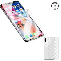 Película Gel Frente iPhone XS Max + Película Verso Traseira Fibra de Carbono - Encapar