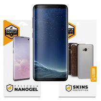 Película Nano Gel Dupla + traseira fibra de carbono para Samsung Galaxy S8 - Gshield (Cobre toda tela) -