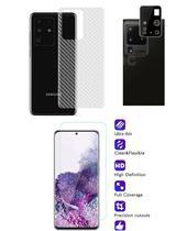 Película Verso Fibra Carbono + Película Câmera Lente + P/ Nano Gel Frontal Samsung Galaxy S20 Ultra - Dv