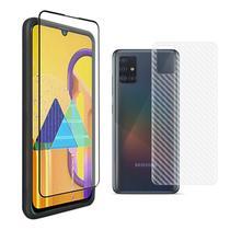 Película Vidro 3D Galaxy A71 + Película Traseira Fibra Carbono Slim - Encapar