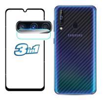 Película Vidro 9d Galaxy A20s + Pelicula Da Câmera + Skin Verso Fibra Carbono - Flex