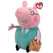Pelúcia 30 Cm - Média - TY - Peppa Pig - Papai Pig - DTC -