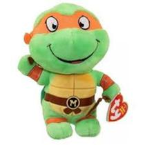 Pelúcia Beanie Babies Tartaruga Ninjas Michelangelo 20cm - DTC 3718 -