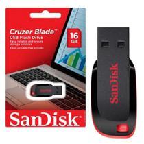 Pen Drive 16GB Sandisk Cruzer Blade Preto e Vermelho -