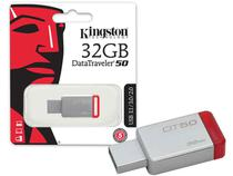 Pen drive usb 3.1 kingston dt50/32gb datatraveler 50 32gb metal vermelho -