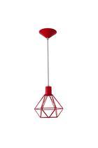 Pendente Arame Diamante Vermelho - Attena iluminação