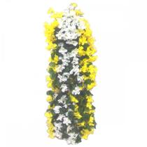 Pendente flores artificiais c/ suporte de parede amarelo+bra - Yomdid